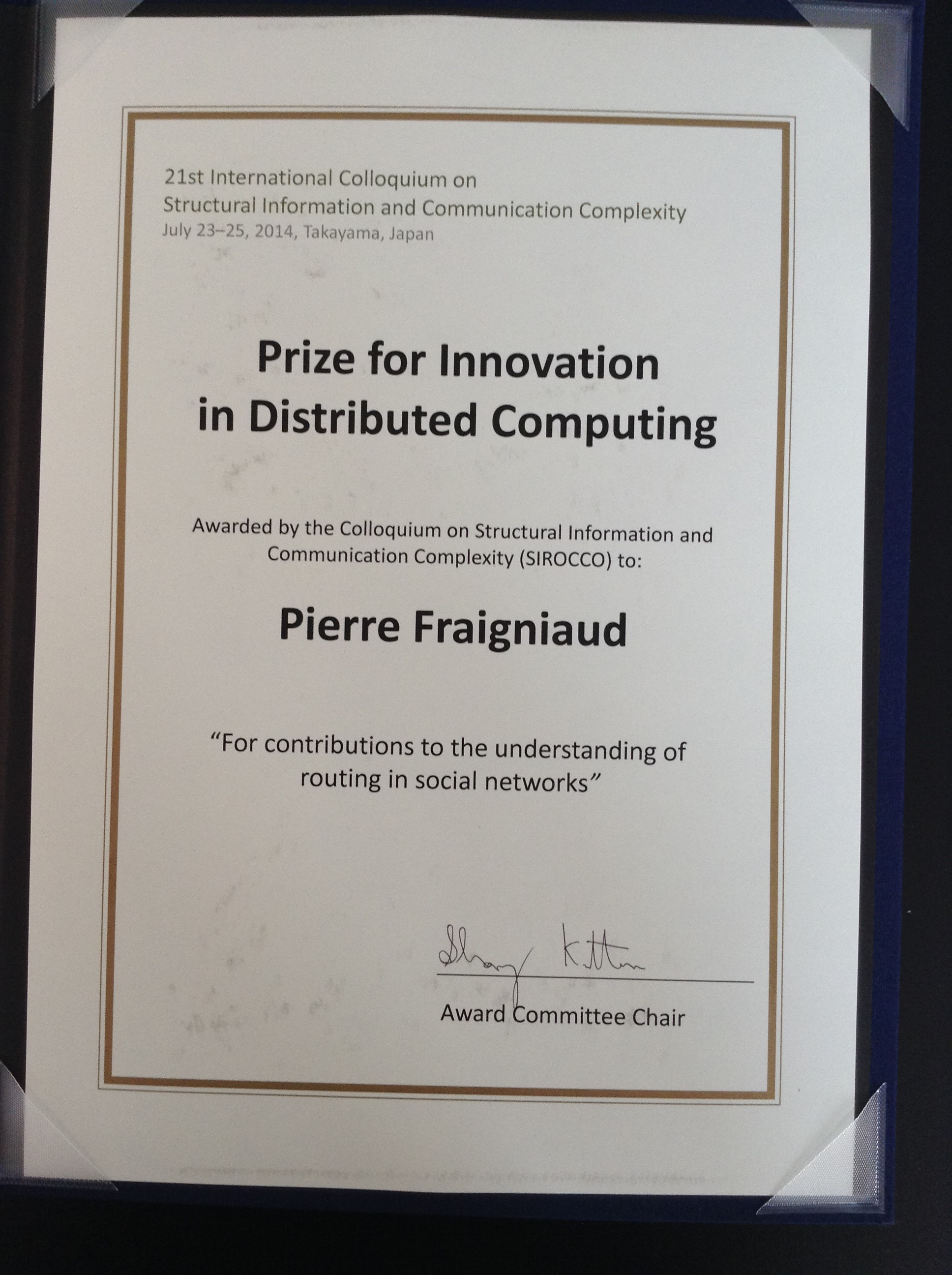 Prize for Innovation in Distributed Computing